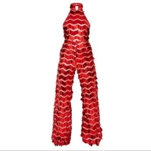 Pretty Little Thing- Red Sequin High Neck Jumpsuit